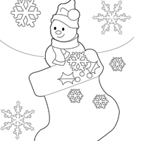 Thumbnail image for Snowman and Stocking Coloring Sheet