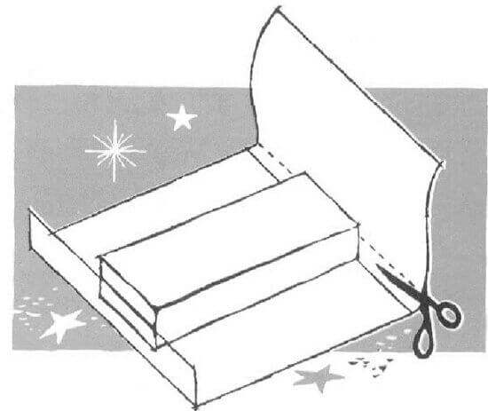 Measure the paper up three-quarters of the box's depth at each end, and cut off excess.
