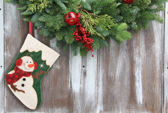 Christmas Garland with a Snowman
