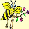 Cute Bee and Flower Coloring
