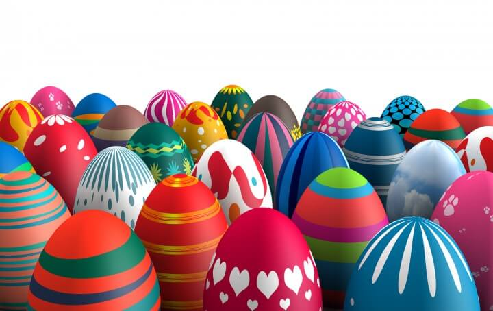 Colorful standing Easter eggs isolated white background 3d illus
