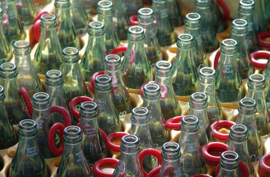 Row Of Empty Glass Bottles