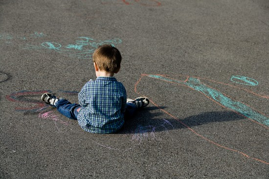 Little Boy Sidewalk Chalk