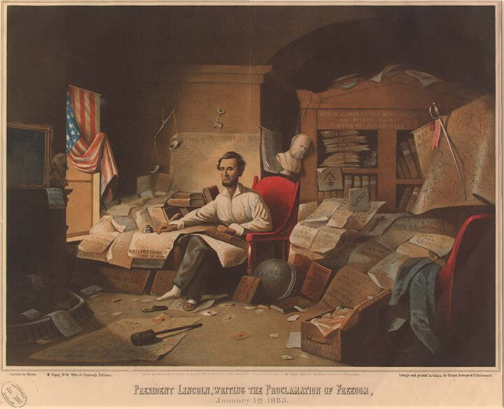 President Lincoln Writing Emancipation Proclamation
