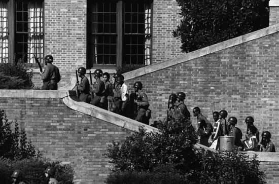 101st Airborne escorting The Little Rock Nine into Central High School in Little Rock, AR.