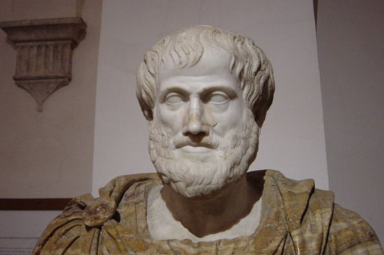 Bust of Aristotle. Marble, Roman copy after a Greek bronze original by Lysippos from 330 BC; the alabaster mantle is a modern addition. Giovanni Dall'Orto March 2005