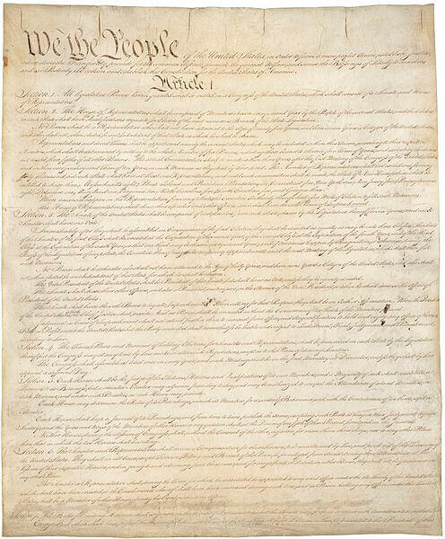 Page one of the U.S. Constitution