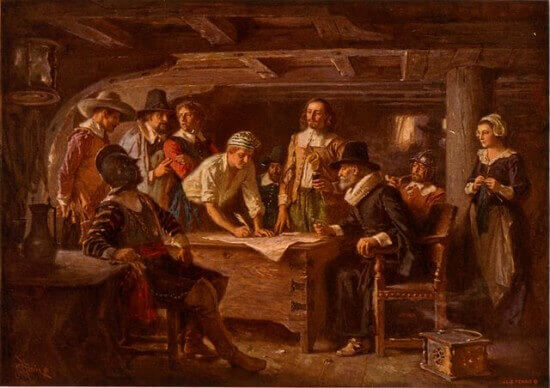 Signing of the Mayflower Compact.