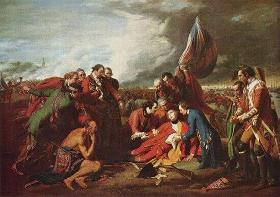 The Death of General Wolfe, 1770. This was painted by Anglo-American artist Benjamin West. It depicts the death of British General James Wolfe during the 1759 Battle of Quebec of the Seven Years' War.