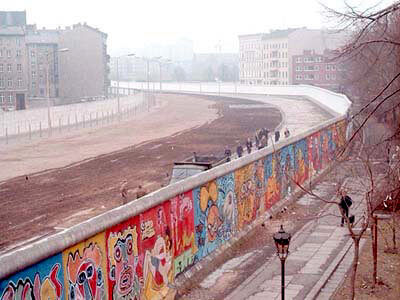 The Berlin Wall. In German, it is known as Berlinermauer.