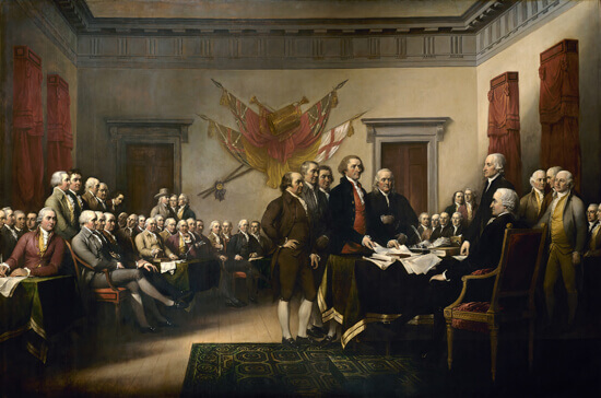 Our founding fathers, the Continental Congress, crafting and signing the Declaration of Independence.