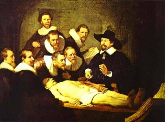 Doctor Nicolaes Tulp's Demonstration of the Anatomy of the Arm. 1632. Mauritshuis Museum, The Hague, Holland.