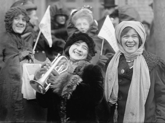 Women's suffragists demonstrate in February 1913.