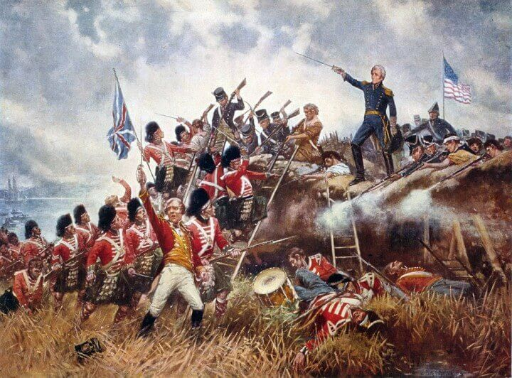 General Andrew Jackson defending against the attacking Highlanders.