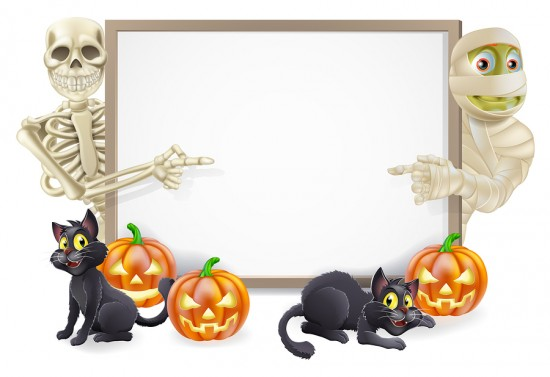 Halloween Sign With Skeleton And Mummy