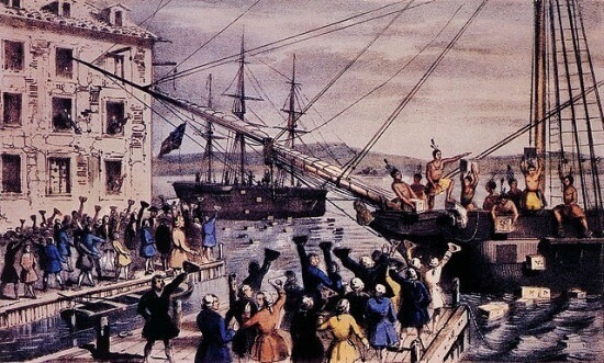 """The Destruction of Tea at Boston Harbor"", lithograph depicting the 1773 Boston Tea Party , by Nathaniel Currier"