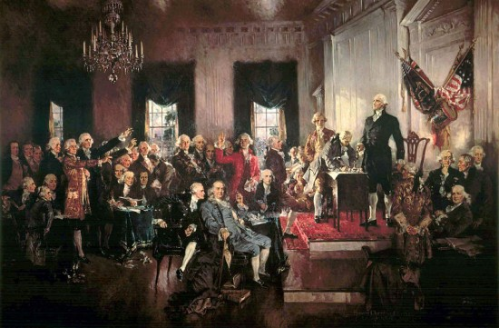 Scene at the signing of the Declaration of Independence.
