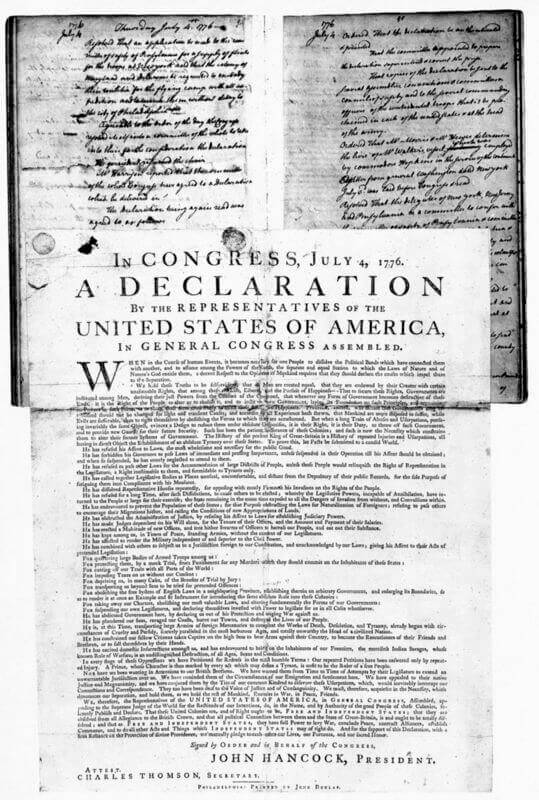 The Declaration of Independence is the founding document of American history.