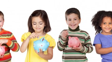 Four Funny Children With Money