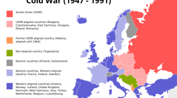 Map of Europe during Cold War