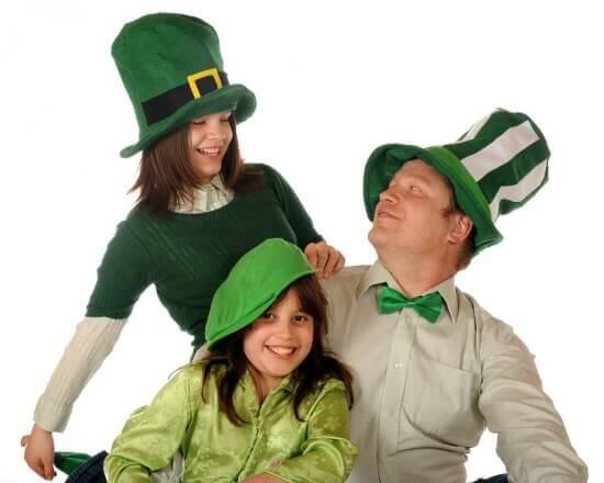 Father and Daughters on St Patrick's Day
