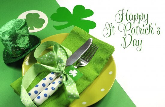 Happy St Patricks Day Table Setting With Shamrocks And Leprechau