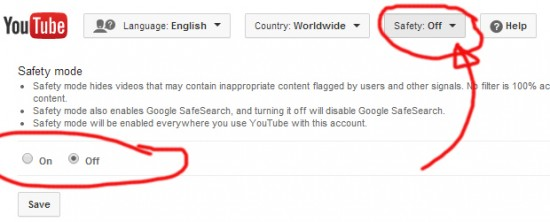 Look for Safety Mode settings at the bottom of any YouTube page.