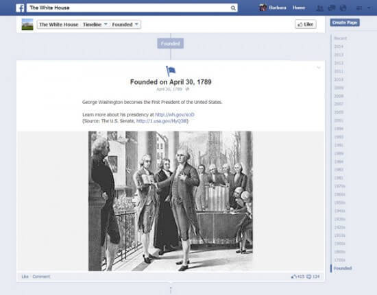 A Timeline Photo from the White House's Facebook profile.