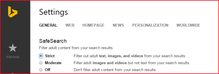 Bing Filtered Search