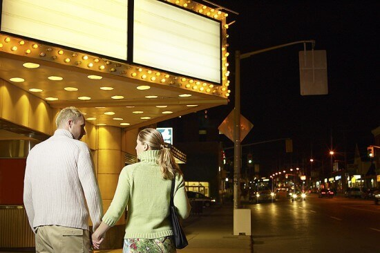 Couple walking to Movie Theater